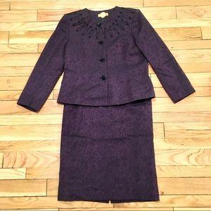 Kasper Shimmery Purple & Black Lace Skirt Suit